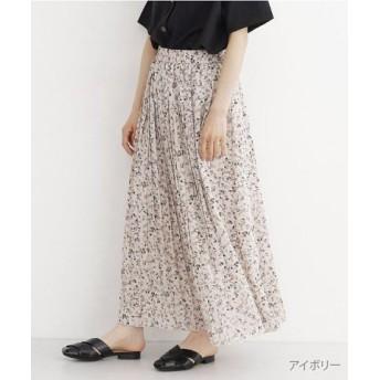 (merlot/メルロー)小花柄シフォンプリーツスカート/レディース アイボリー