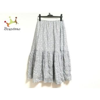 ジユウク 自由区/jiyuku ロングスカート サイズ38 M レディース 美品 白×ブルー×ベージュ 新着 20190711