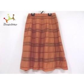 ホコモモラ JOCOMOMOLA スカート サイズ40 XL レディース 美品 ブラウン チェック柄   スペシャル特価 20191018