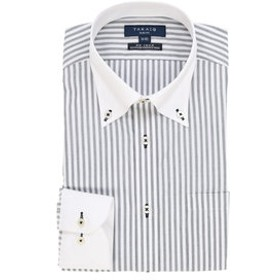 【TAKA-Q:トップス】形態安定スリムフィットボタンダウン長袖ビジネスドレスシャツ