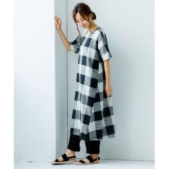 綿スラブ ブロックチェックワンピース (ワンピース),dress