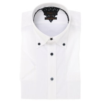 【m.f.editorial:トップス】形態安定スリムフィットドゥエボットーニボタンダウン半袖ビジネスドレスシャツ