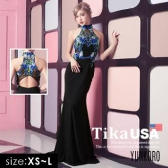 Tika USA L.Aインポートドレス ゆんころ ドレス 着用 エレガント クルー ネック フラワー シースルー マーメード ロングドレス ブラック
