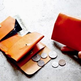 【小銭入れ付】ちいさい折財布/栃木レザー・キャメル