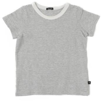 (COMECHATTO & CLOSET/カムチャットアンドクロゼット)ガーゼテンジクボーダー 半袖 Tシャツ/レディース グレー