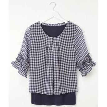 2点セット(ギンガムチェックボリューム袖ブラウス+タンクトップ)) (ブラウス)Blouses, Shirts, テレワーク, 在宅, リモート