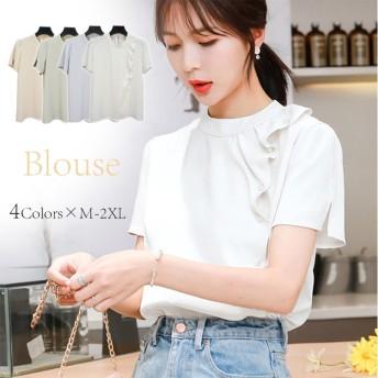 新作 ブラウス レディース パール装飾 半袖 夏秋 上着がゆったり 韓国ファッション