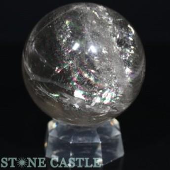 ☆置石一点物☆【天然石 置き石】丸玉 レインボー水晶 約67mm No.26