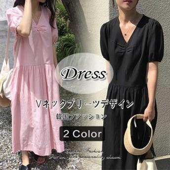 韓国のファッション Vネックのシワデザイン パフスリーブワンピース