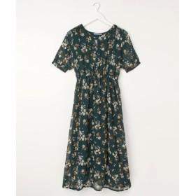花柄シフォンVネックロングワンピース (ワンピース),dress
