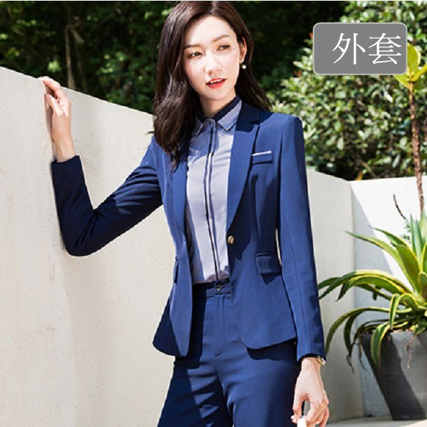 傳統翻領單色OL粉領長袖西裝外套[8X118-PF]灰姑娘