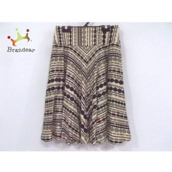 ホコモモラ JOCOMOMOLA スカート サイズ40 XL レディース 美品 アイボリー×黒×マルチ 新着 20190711
