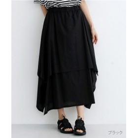 (merlot/メルロー)【IKYU】アシンメトリーフレアスカート/レディース ブラック