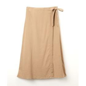 麻レーヨン サイドリボンラップ風スカート