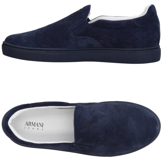 《期間限定セール開催中!》ARMANI JEANS メンズ スニーカー&テニスシューズ(ローカット) ダークブルー 44 革 / 紡績繊維