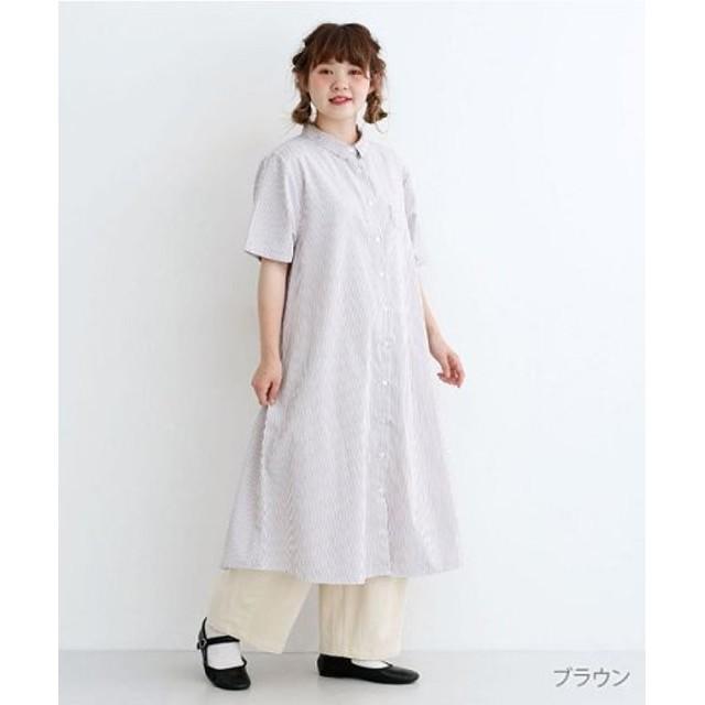 (merlot/メルロー)ミニポケット半袖シャツワンピース/レディース ブラウン