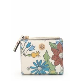 【中古】トリーバーチ TORY BURCH 二つ折り財布 ロビンソン ミニウォレット 白 マルチカラー 小物 花柄 レザー 49286