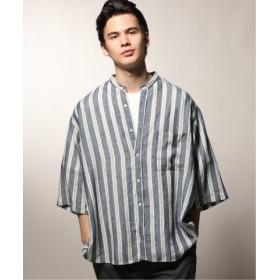 (JOURNAL STANDARD/ジャーナルスタンダード)ココナ37.5 リネンバンドカラーシャツ/メンズ ネイビーA