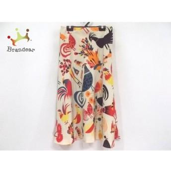 ホコモモラ JOCOMOMOLA スカート サイズ40 XL レディース 美品 アイボリー×レッド×マルチ 鳥 新着 20190711