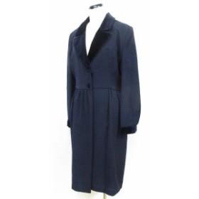 【中古】フォクシーブティック  ワンピース ロング 長袖 ウール100% テーラードカラー ギャザー 紺 40 ◆01