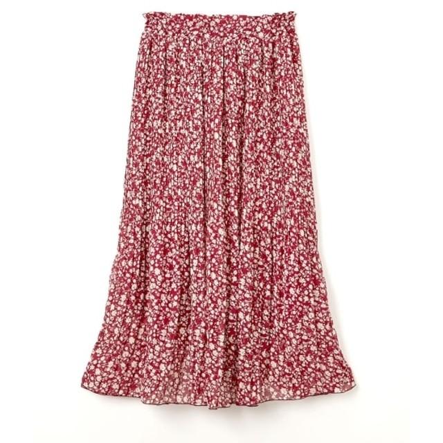 シフォンプリント消しプリーツロングスカート (ロング丈・マキシ丈スカート)Skirts, 裙子