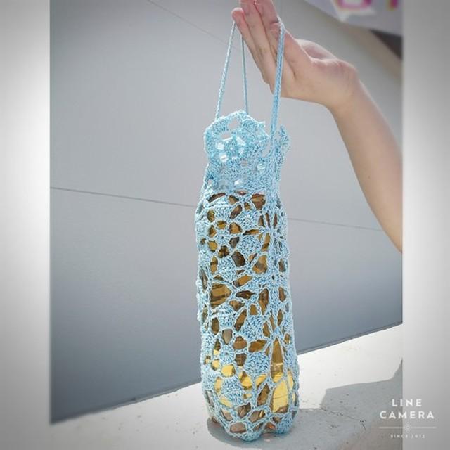 持ち手付き☆夏のペットボトルカバー 水色/レース/コットン素材/プレゼント/夏の熱中症対策に