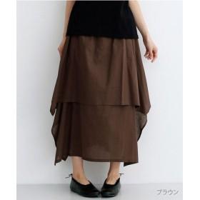 (merlot/メルロー)【IKYU】アシンメトリーフレアスカート/レディース ブラウン 送料無料