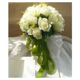 ウェディングブーケ ブライダルフラワーに 清楚で かわいい 白い バラの 造花の[0384](白)