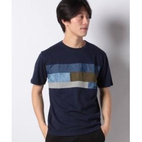 (MARUKAWA/マルカワ)異素材 パネル切り替え 半袖Tシャツ/メンズ ネイビー