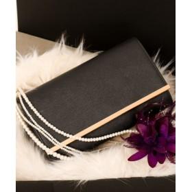 (Fashion Letter/ファッションレター)3WAY パーティー フェイクレザー クラッチバッグ/レディース ブラック