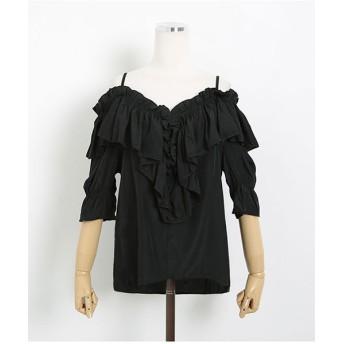 シャツ - NOWiSTYLE SONYUNARA(ソニョナラ)シンプルオフショルダーフリルブラウス韓国 韓国ファッション シフォン オフショルダー フリルブラウスガーリー