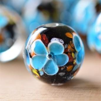 花トンボ玉(ホタル玉)14mm 2粒 ブルー