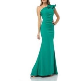 カルメンマークバルボ レディース ワンピース トップス Carmen Marc Valvo Infusion One-Shoulder Gown Green