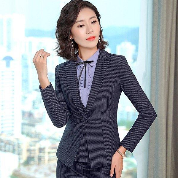 襯衫領細條紋一粒釦職場長袖西裝外套[8S251-PF]灰姑娘