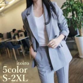 美スタイル パンツスーツ  レディース スーツ 韓国 オルチャン ファッション セットアップ  フォーマル カジュアル 大きいサイズ 体型カ