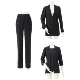 洗えるフォーマル3点セットスーツ(ロングジャケット+レース胸当て付ブラウス+パンツ)(トール丈)<大きいサイズ有> (ブラックフォーマル),plus size