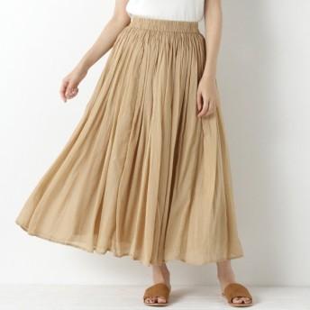 スカート レディース ロング 秋カラー◎インド綿ボイル素材のカラースカート 「ベージュ」