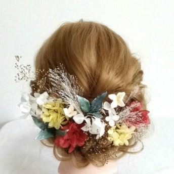 成人式 ドライフラワー髪飾り 紫陽花 結婚式