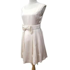 【中古】レッセパッセ LAISSE PASSE ドレス ワンピース ノースリーブ レース切替 チュール 結婚式 二次会 リボン 38 M