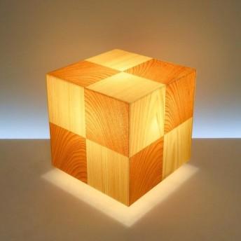 和風照明・インテリア照明 AKA-066 アクリキューブ行灯 Sサイズ 市松模様 桧/桜ツキ板