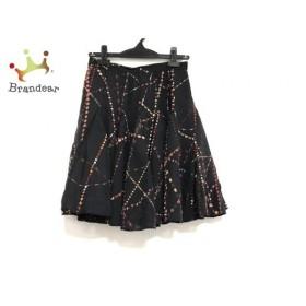 イッサロンドン ISSA スカート サイズ2 M レディース 美品 黒×マルチ シルク   スペシャル特価 20191003