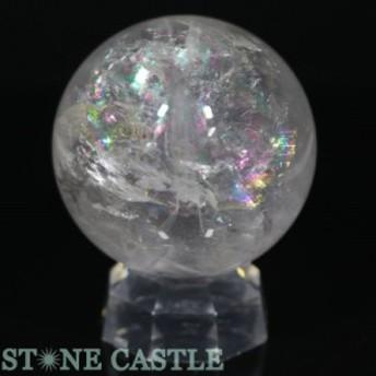 ☆置石一点物☆【天然石 置き石】丸玉 レインボー水晶 約69mm No.23