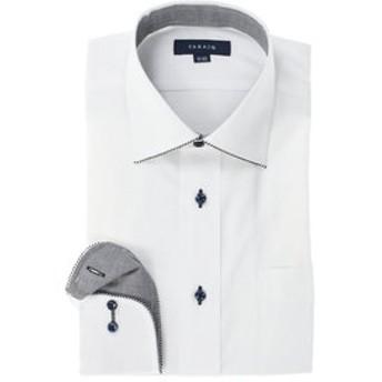 【TAKA-Q:トップス】形態安定レギュラーフィット ワイドカラーパイピング長袖ビジネスドレスシャツ/ワイシャツ