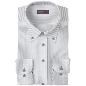 BUSINESS EXPERT メンズ ストライプボタンダウンシャツ(すっきりシルエット)