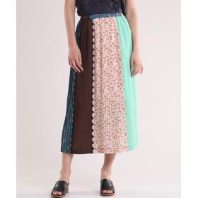 INED 《Luftrobe》パッチワークプリーツスカート ひざ丈スカート,ターコイズブルー5