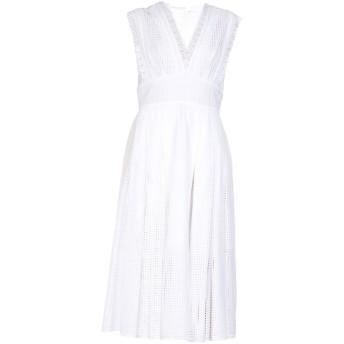 《期間限定セール開催中!》OSCAR DE LA RENTA レディース 7分丈ワンピース・ドレス ホワイト 14 コットン 100%