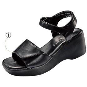 オフィスサンダル(ロメオバレンチノ) - セシール ■カラー:ブラックA ■サイズ:S(22-22.5cm),M(23-23.5cm),LL(24.5cm),L(24cm),SS(21-21.5cm)