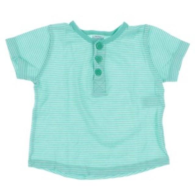 PETIT BATEAU  / プチバトー キッズ Tシャツ・カットソー 色:緑系x白系(ボーダー) サイズ:12M