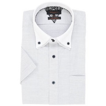 【m.f.editorial:トップス】形態安定スリムフィット2枚衿ドゥエボットーニボタンダウン半袖ビジネスドレスシャツ