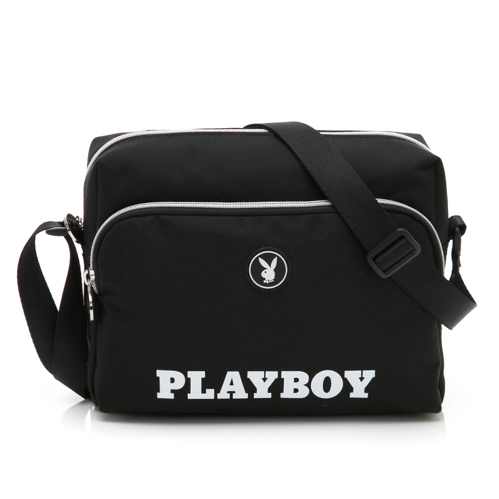 PLAYBOY- 斜背包 黑白風尚系列 -黑色